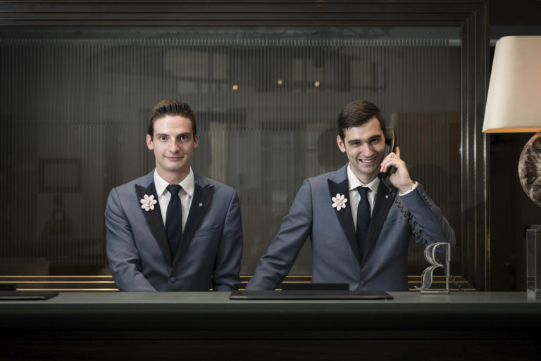 Reception staff at the Amigo Hotel Brussels
